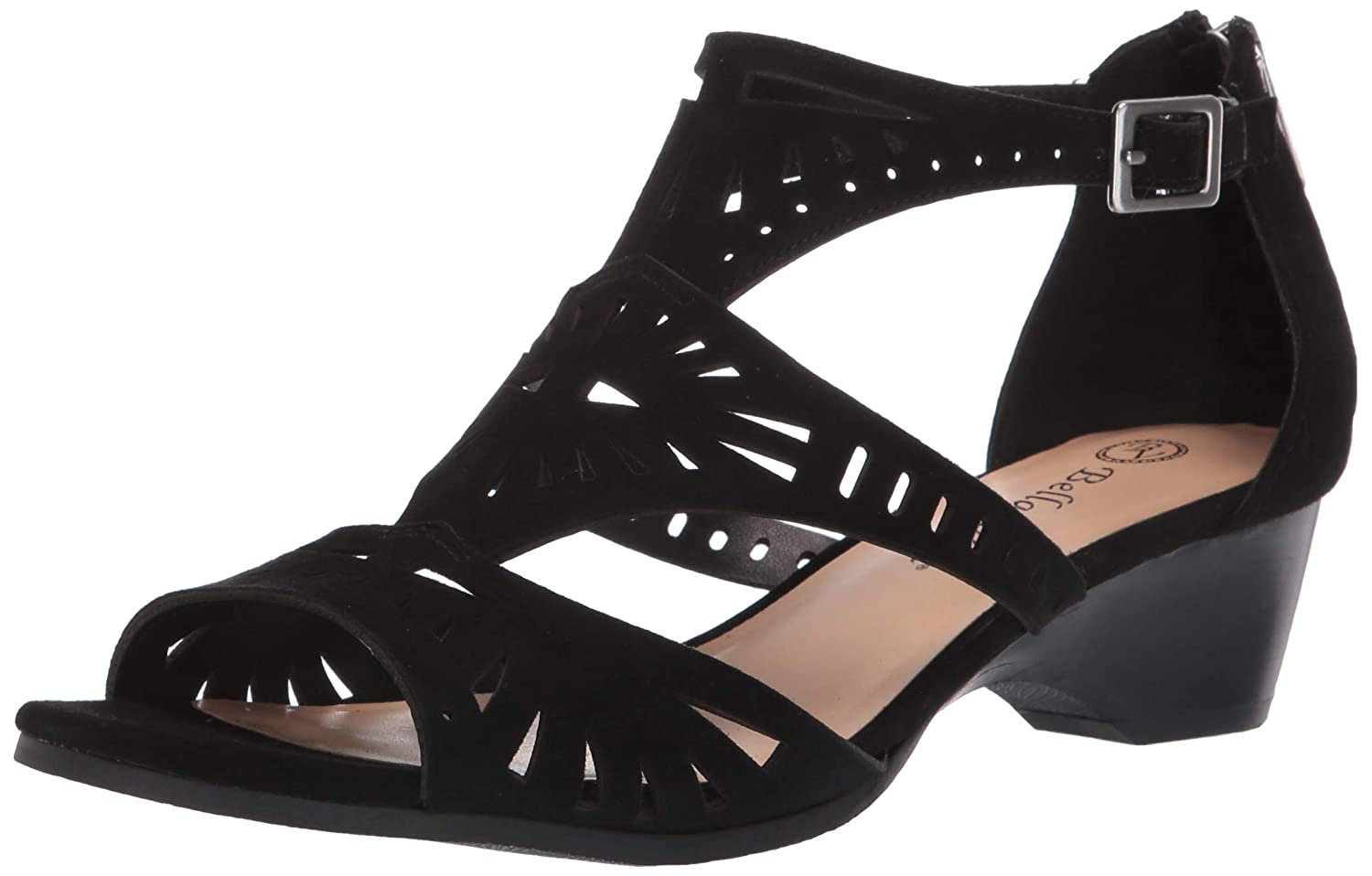 Black Kidsuede Leather Bella Vita Womens Penny Cutout Sandal with Back Zipper Heeled Sandal