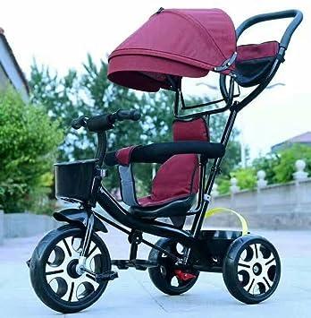 LZTET Sillas De Paseo Travel Systems Carrito De Bebé De Tres Ruedas Plegable Pedal para Bebés 1-6 Años De Edad Bicicleta para Niños Cochecito,Redwine: ...