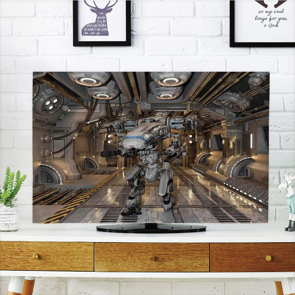 iPrint LCD TV dust Cover Customizable,War Home Decor,Battle Robot with Weapons in a Ship Technological Combat Futuristic Warfare Image,White,Graph Customization Design Compatible 32'' TV