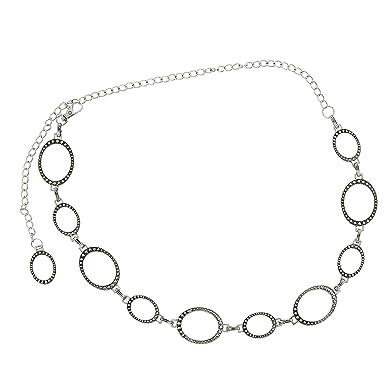 eecee730afad FASHIONGEN - Ceinture chaîne anneaux ovale pour femme, réglable JAQUELINE -  Argent vieilli, Taille