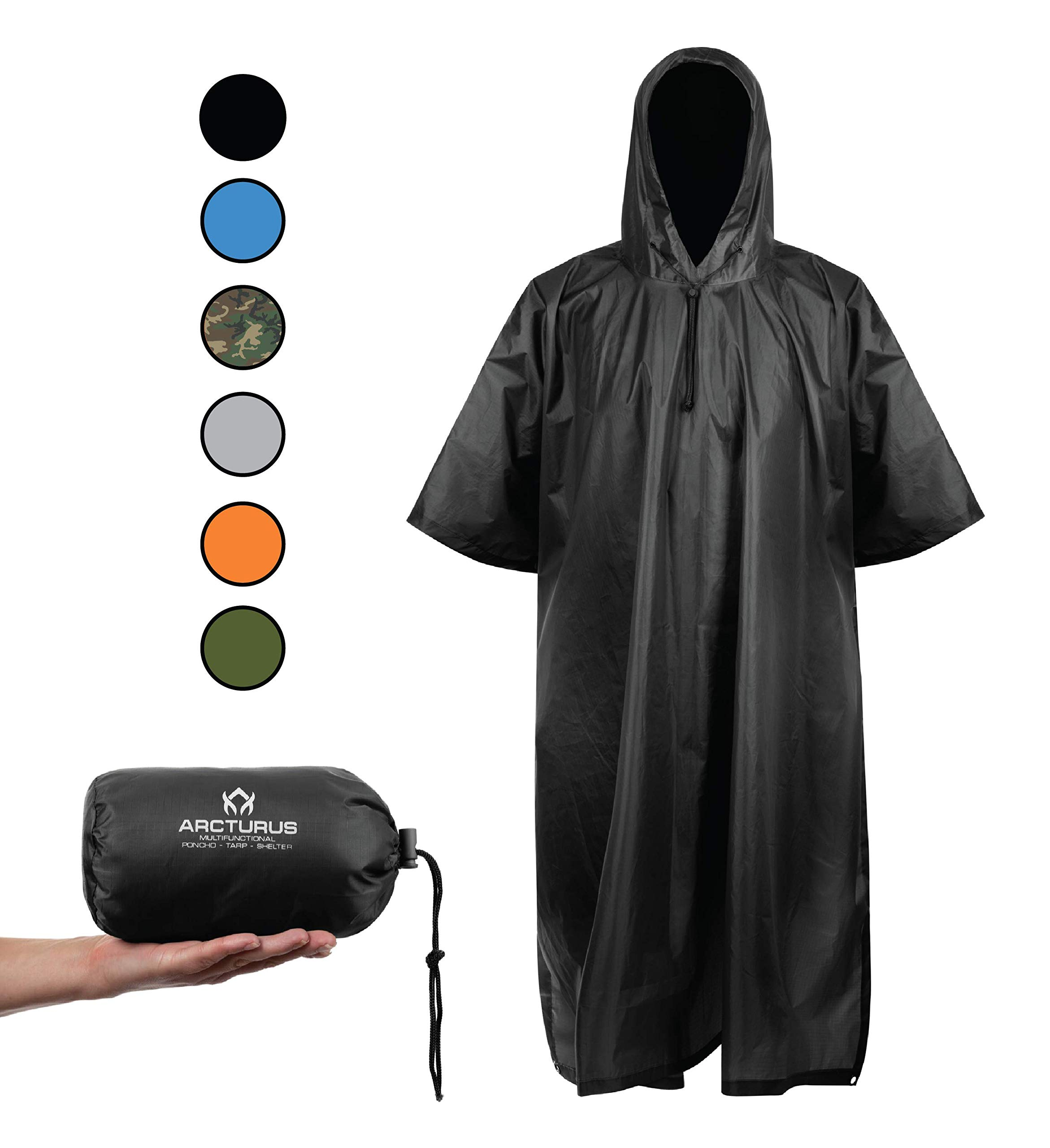 Arcturus Rain Poncho: Lightweight Ripstop Nylon Poncho with Adjustable Hood. Multipurpose, Large, Waterproof Design - Makes a Great Tarp, Backpacking Ground Cloth & Emergency Shelter (Black) by Arcturus