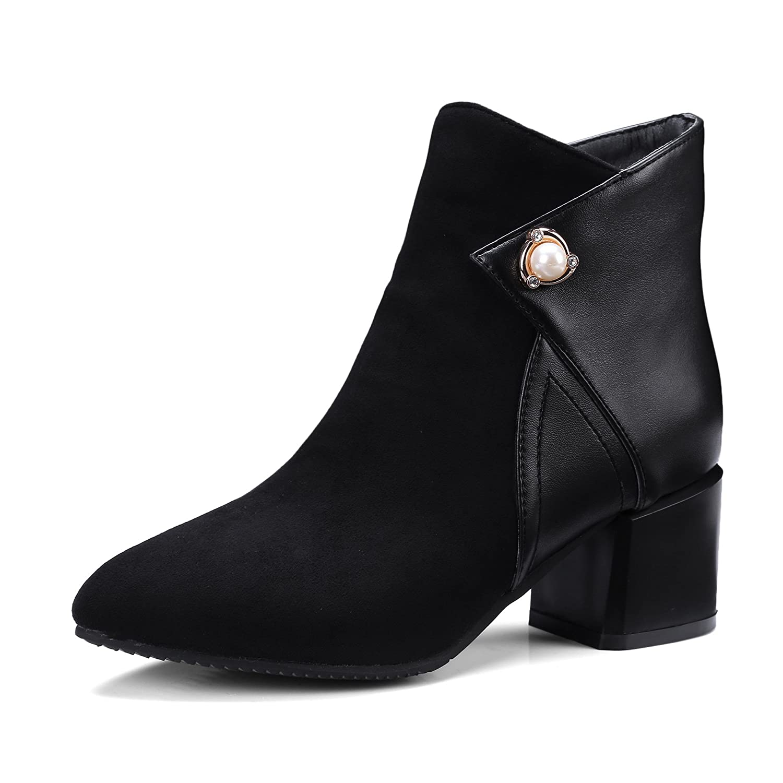 DYF Schuhe kurze Stiefel grobe High Heel Heel Heel wies Farbe Pearl Big Größe Schwarz 42 5c2974