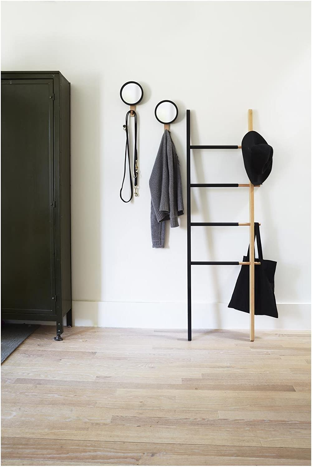 Umbra Hub Ladder Rack - Adjustable Width Freestanding Rack to hang Towels, Clothing and more in Bathroom, Bedroom or Entryway, Black/Walnut 320260-048