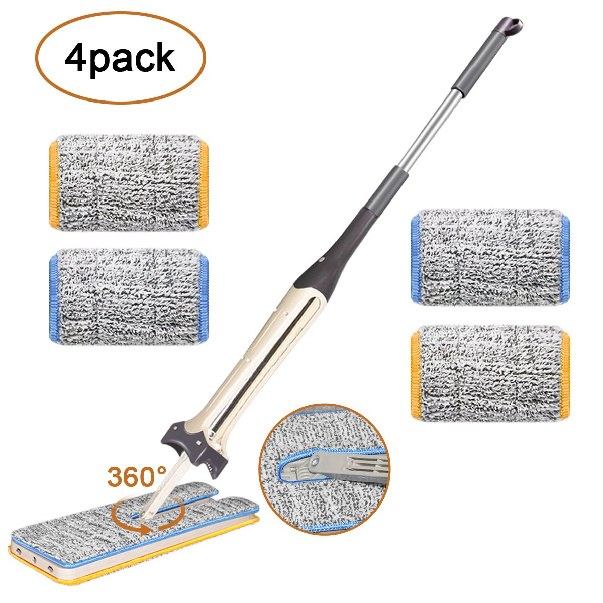 Double Sided Lazy Mop,【Upgrade Version】Umwon 360 Spin Hands–free Automatic Squeeze Flip Floor Mop, Self Wringing Wet & Dry Flat Mop for Cleaning Hardwood or Window Wall (4 Microfiber Mop Pads – 13inch