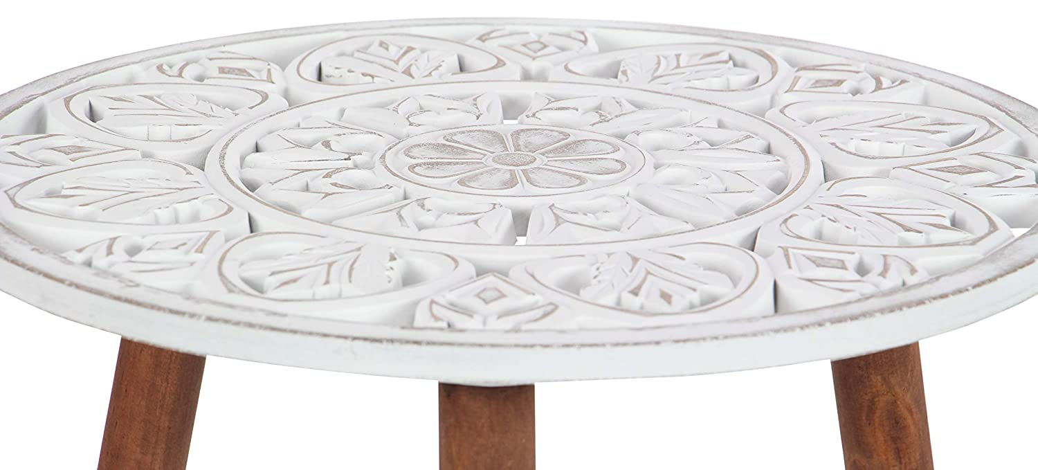 Deco 79 Wood Carved Table 19 x 21 White Brown