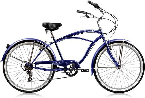 Micargi Pantera 7-speed 26 for men Blue , Beach Cruiser Bike Schwinn Nirve Firmstrong Style