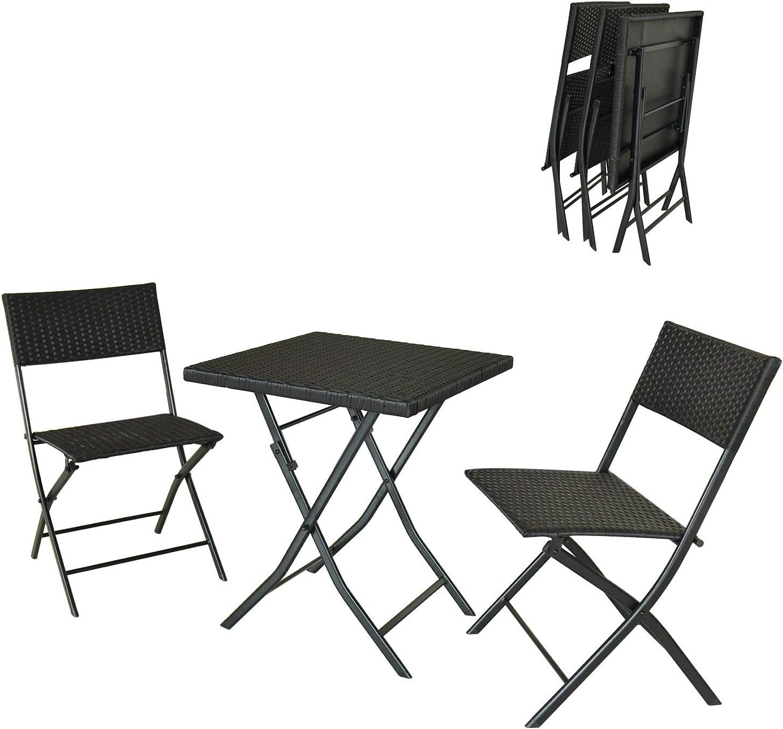 DlandHome Restoset Conjunto Plegable de 1 Mesa y 2 sillas para ...