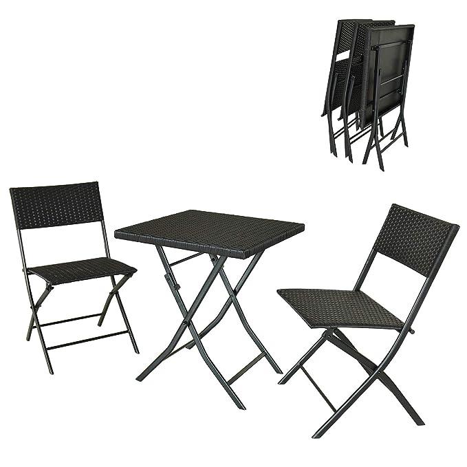 Tavolo con Piano in Vetro e 2 Sedie TecTake 402936 Bistro Set Mobili da Giardino Robusta Intelaiatura in Acciaio Montaggio e Smontaggio Super rapido