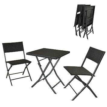 DlandHome Restoset Conjunto Plegable de 1 Mesa y 2 sillas para Terraza y Jardín Muebles Salón de Exterior/Interior de Ratán de Color marrón