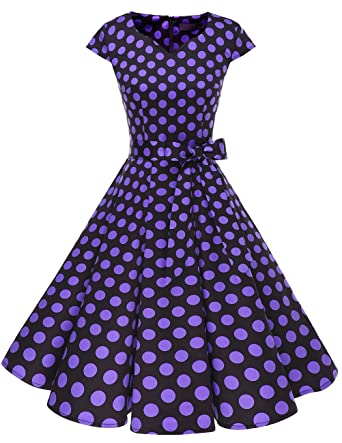 b9bb88fa DRESSTELLS Retro 1950s Cocktail Dresses Vintage Swing Dress with  Cap-Sleeves Black Purple Dot XS