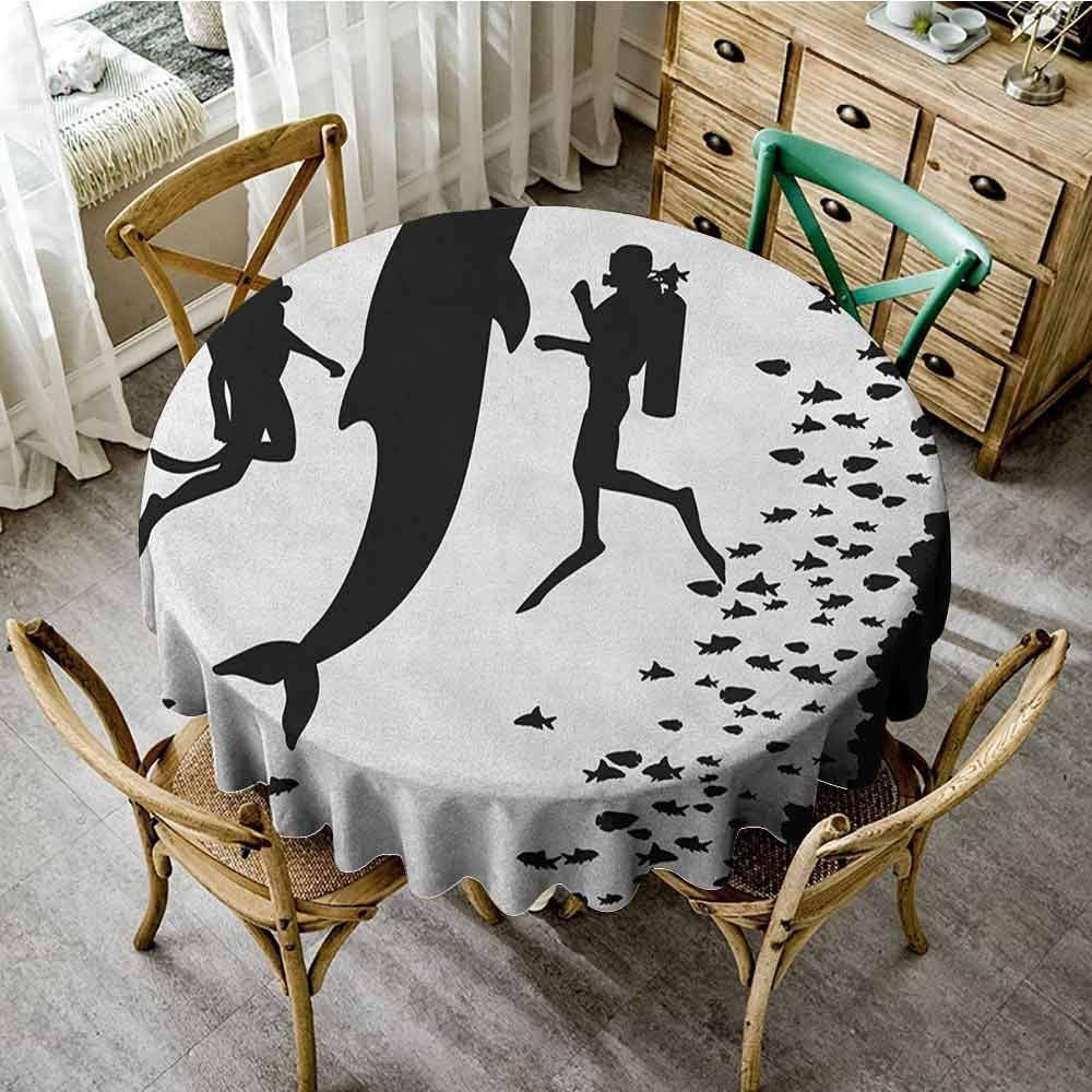 Jacquard Tablecloth Dolphin Two Scuba Divers and Giant Fish Silhouette Swimming Close to The Reef Monochrome Black White Waterproof Round Tablecloth Diameter 36'' by Suchashome
