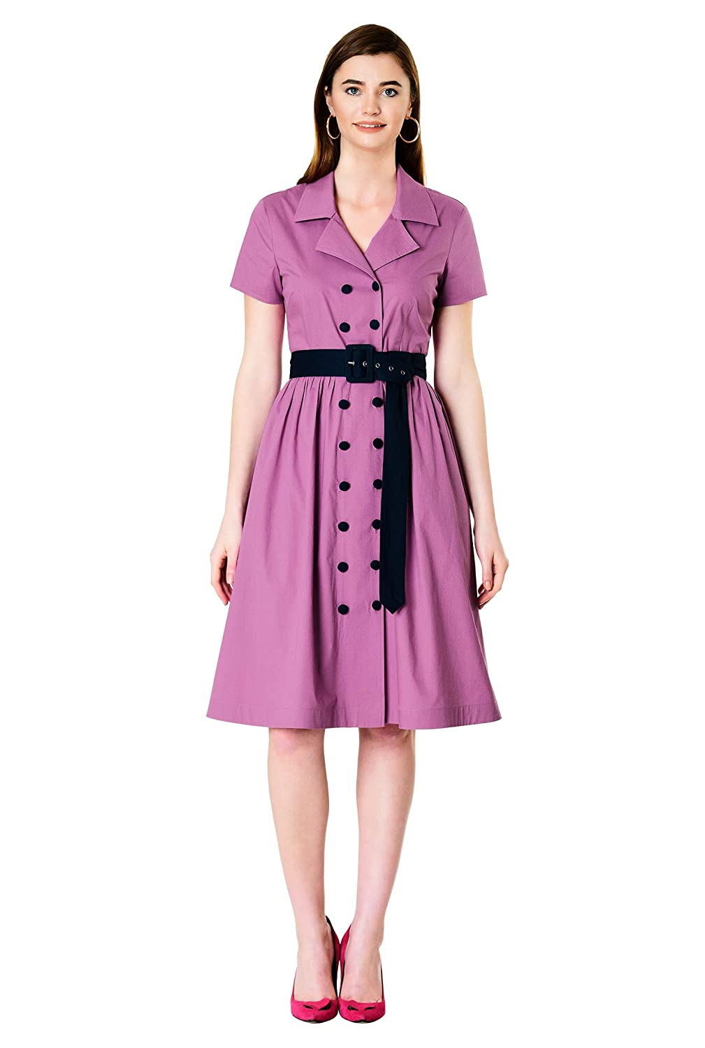 Fifties Dresses : 1950s Style Swing to Wiggle Dresses eShakti Womens Contrast Button poplin Belted Shirtdress $69.95 AT vintagedancer.com