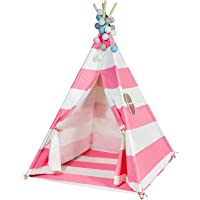 Durable Teepee for Kids, FoFxly Indian Play Tent, Stable Tipi, The Safest Children's Playhouse with Window and Floor, Wooden Poles & Sturdy Cotton Canvas & Nylon Strap & Non-Slip End Cover