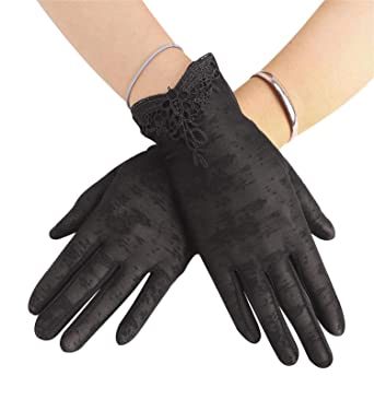 0610f03ed0240 Women Sun UV Protection Driving Gloves Summer Short Floral Lace Anti-skid  Screentouch Gloves Elegant
