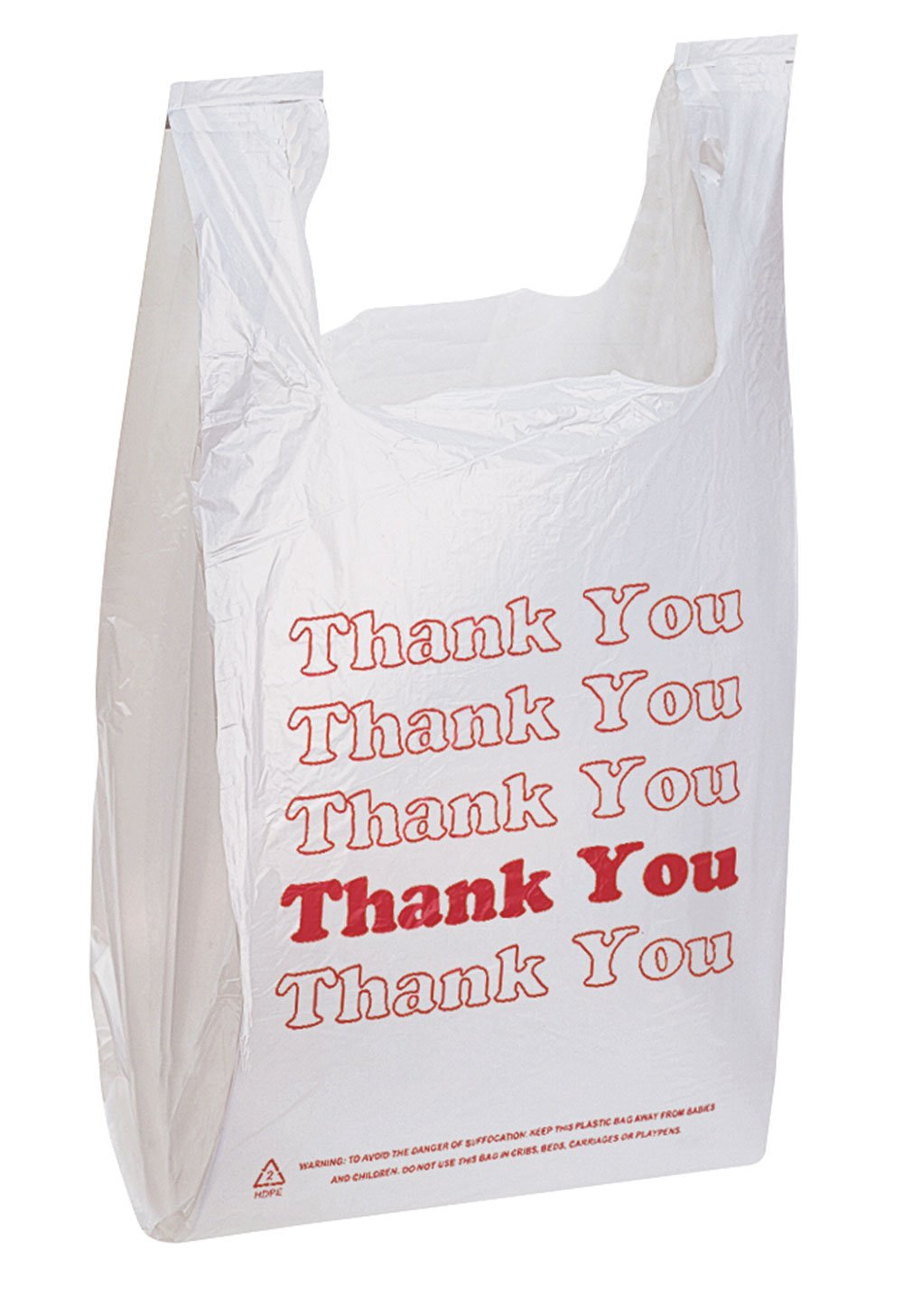 White Thank You Bags Case of 500-11 ½'' x 6'' x 21'' - Thickness .48mil HDPE- Standard Supermarket Size