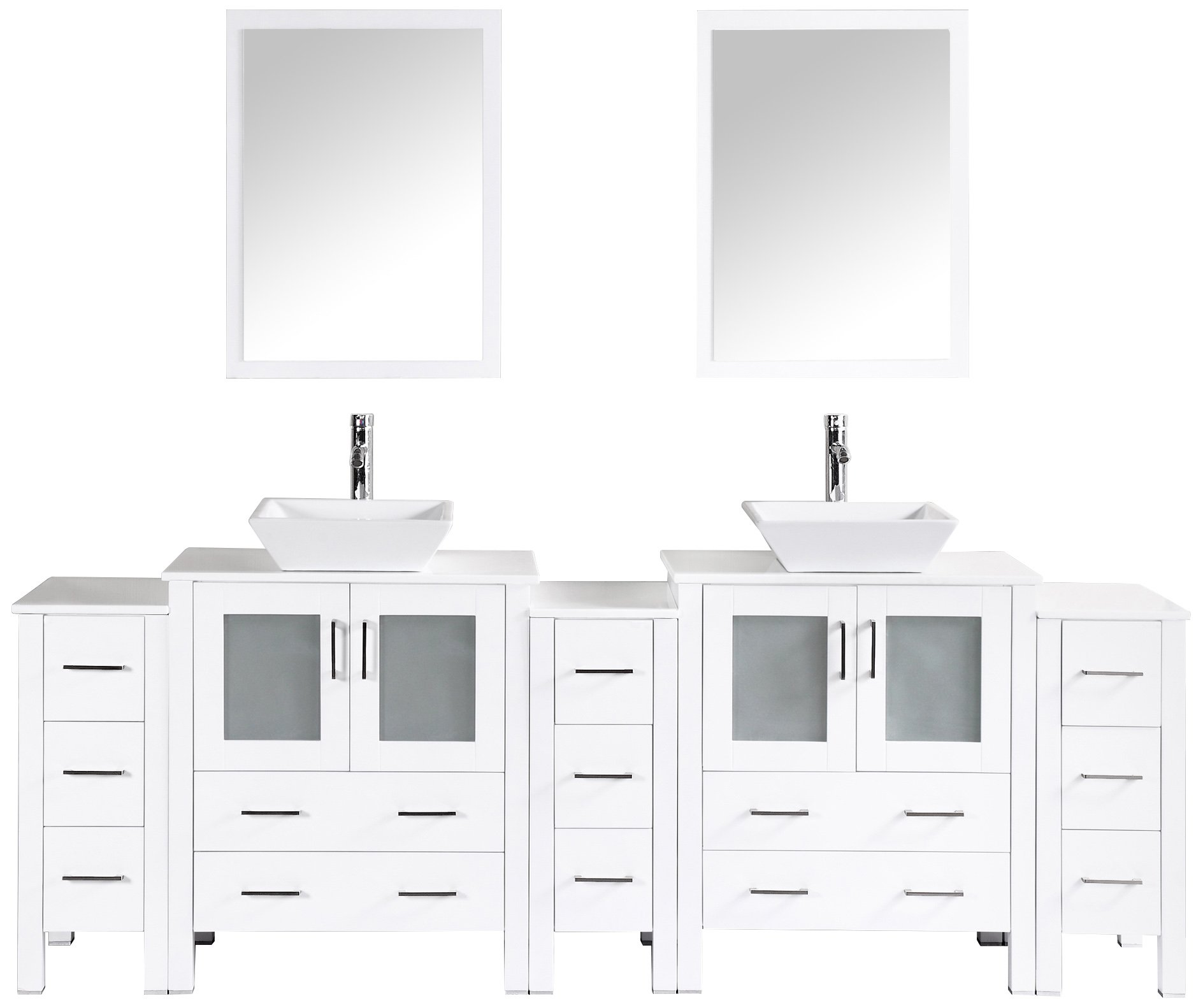 Bosconi Bathroom Vanities 96'' Classic Double Vanity Set With Square Vessel Sinks, Countertops, 2 Cabinets, 2 Mirrors, And 3 Side Cabinets, White/Phoenix Stone