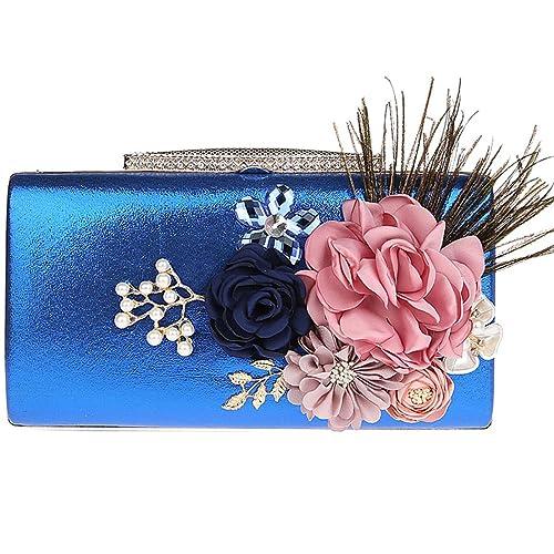 KAXIDY Carteras de Mano Floral Bolsos Pequeños Mujer Fiesta Bolso De Mano Bolsos Fiesta (Azul