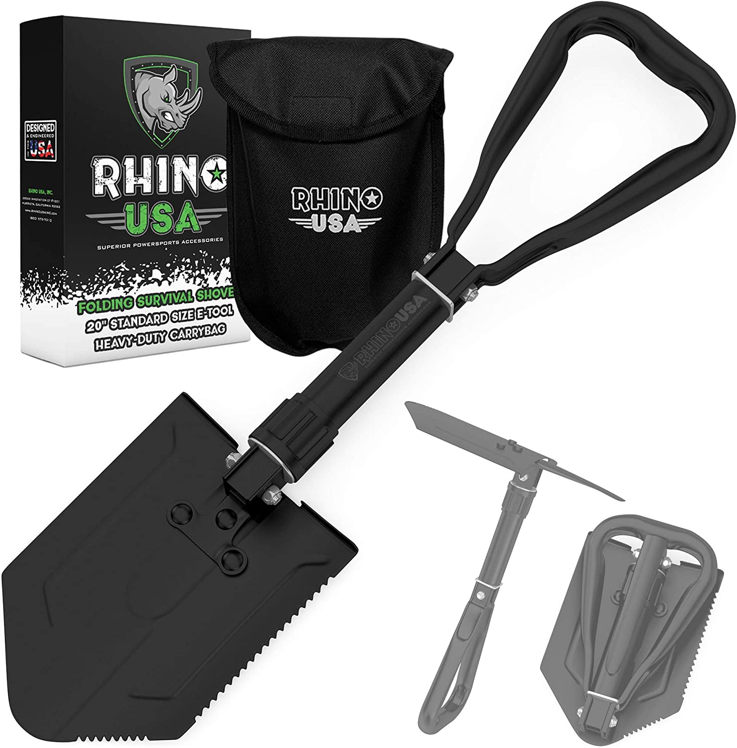 Rhino USA Folding Survival Shovel w/Pick - Heavy Duty Carbon Steel Military Style Entrenching Tool for Off Road, Camping, Gardening, Beach, Digging Dirt, Sand, Mud & Snow - Guaranteed for Life! : Sports & Outdoors