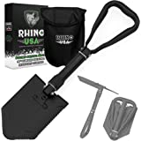 Rhino USA Folding Survival Shovel w/Pick - Heavy Duty Carbon Steel Military Style Entrenching Tool for Off Road, Camping…