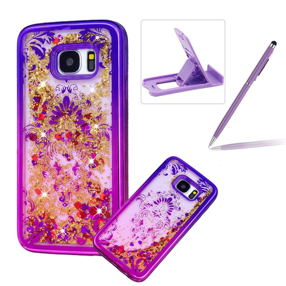 Liquid Clear Case for Samsung Galaxy S7 Edge, Glitter TPU Cover for Samsung Galaxy S7 Edge, Herzzer Luxury [Pretty Flower Pattern] Soft Flexible with Electroplated Frame Flowing Sparkle Love Heart Star Crystal Back Case