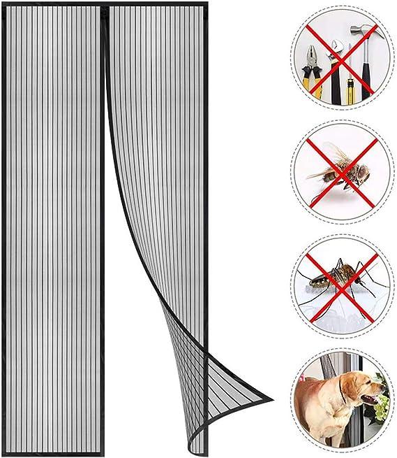 Voarge Magnet Fliegengitter T/ür Insektenschutz 80x210cm Der Magnetvorhang ist Ideal f/ür die Balkont/ür Nicht K/ürzbar Kinderleichte Klebemontage Ohne Bohren Kellert/ür und Terrassent/ür
