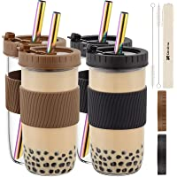 Reusable Boba Cup Bubble Tea Cup 4 Pack, 24Oz Wide Mouth Smoothie Cups with Lid, Silicone Sleeve & Angled Wide Rainbow…