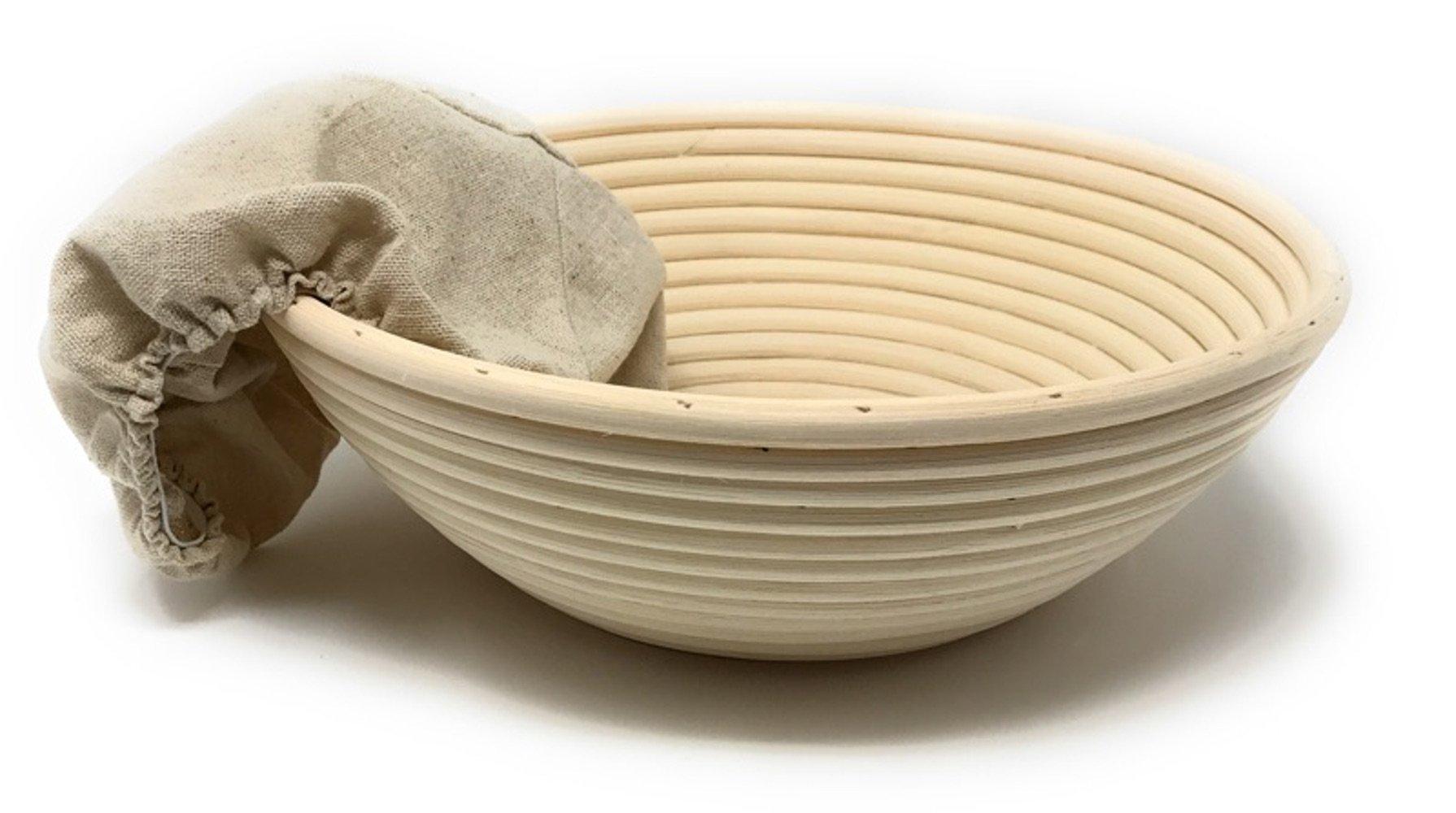 3-Piece Set: Emile Henry Ceramic Round Stewpot Dutch Oven Bread Pot, Burgundy, 8 inch Round Banneton Bread Rising Basket, Fitted Cotton Liner - Bundle by Bundle (Image #3)
