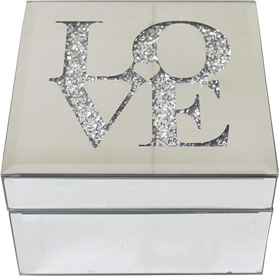 """/""""Love/"""" Argento Vetro Make Up Case Organizzatore portagioie"""
