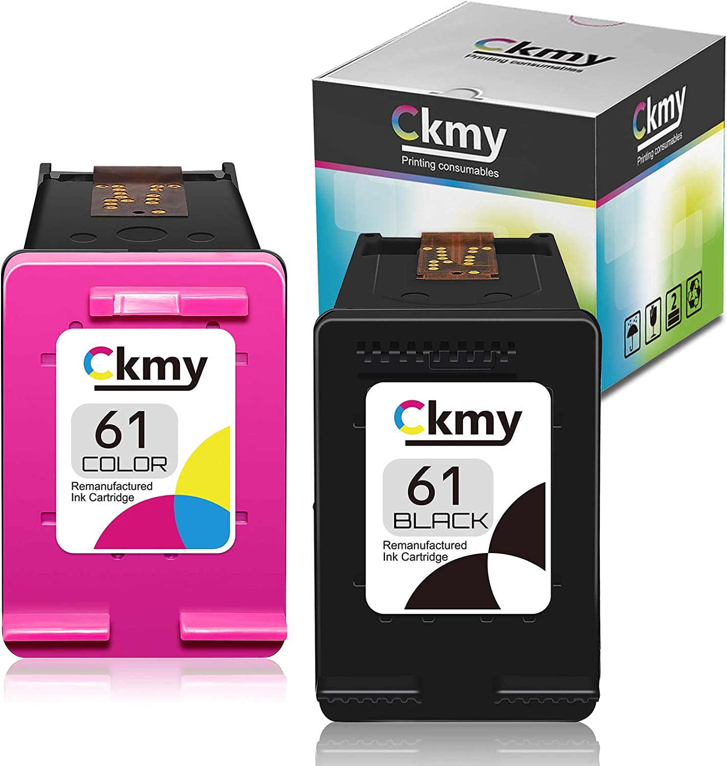 CKMY Remanufactured Ink Cartridge Replacement for 61 (1 Black & 1 Tri-Color) Used for HP Envy 4500 4502 5530 DeskJet 2512 1512 2542 2540 2544 3000 3052a 1055 3051a 2548 OfficeJet 4630 (Combo Pack)