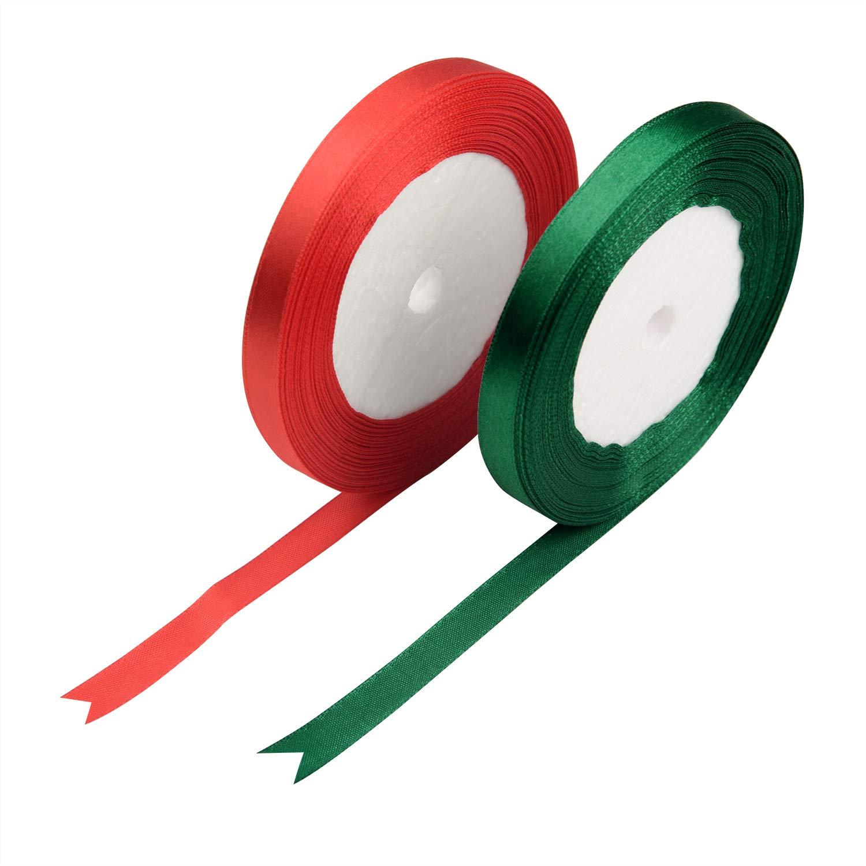 10 Rolls 25 Yards Length Ribbons 10mm 3//8 Cheap Decorative Satin Ribbon for DIY
