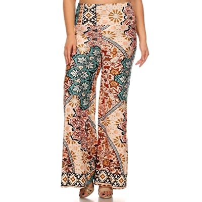 (Plus Size) Printed Self Banded High Waist Palazzo Pants (MADE IN U.S.A)