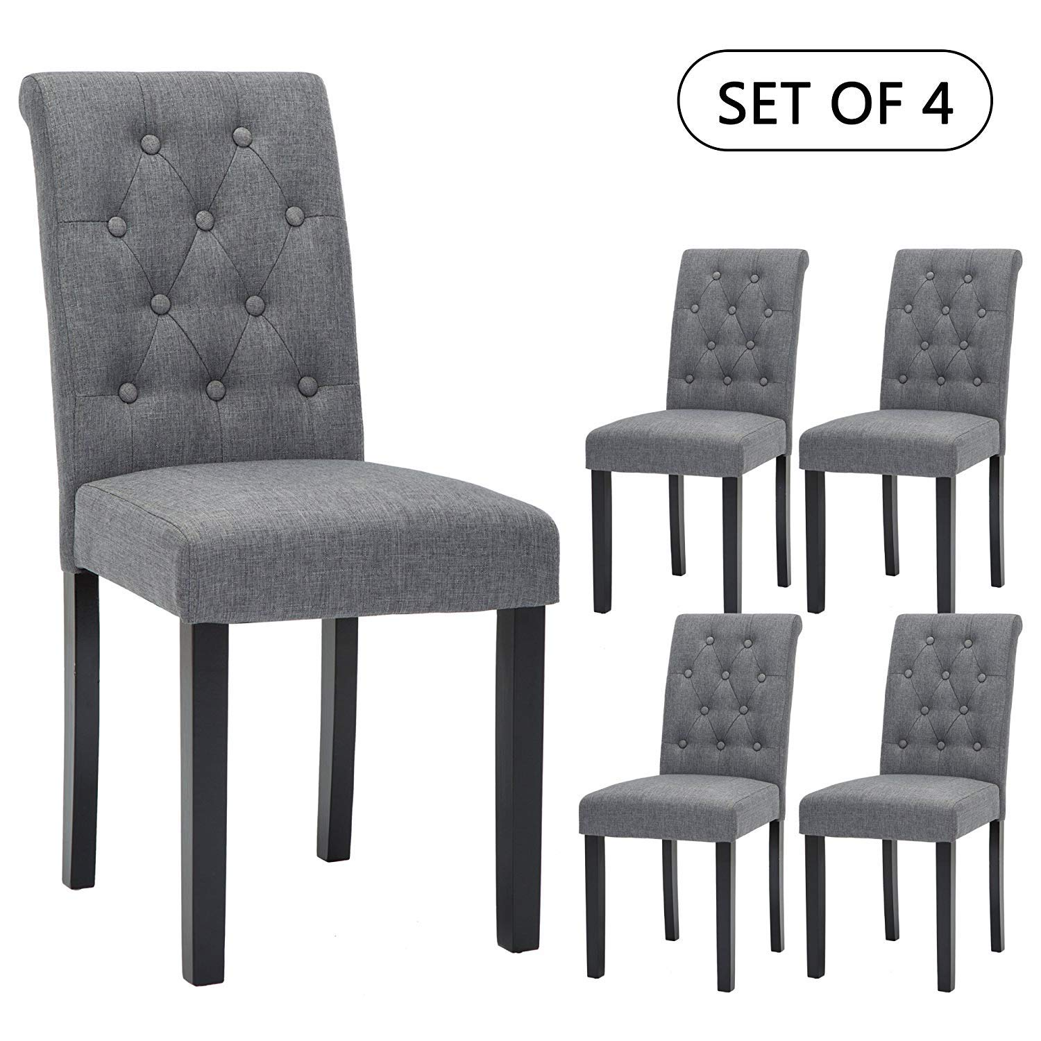 Set of 4 Upholstered Fabric Dining Chairs with Button-Tufted Details Gray