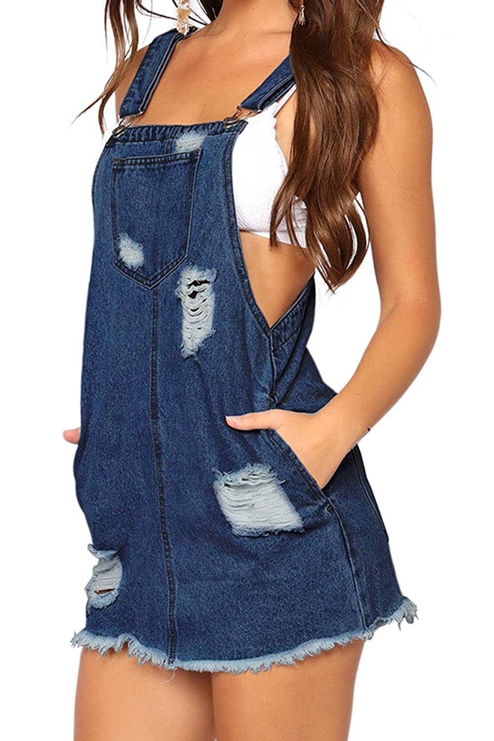 Zamtapary Donna Casuale Jeans Overall Denim Vestito Gonna ITVI1528