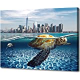 Bathroom Decor Wall Art Beach Nautical Canvas Pictures for Wall Modern Sea Turtle City Coastal Landscape Wall Art Theme…