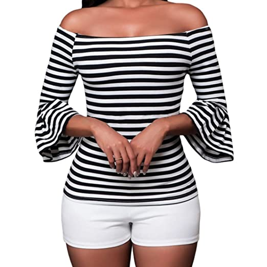 dc99800098d9e2 SUBWELL Women s Off Shoulder Flared Sleeve Black and White Stripe T Shirt  Top Blouse (Small