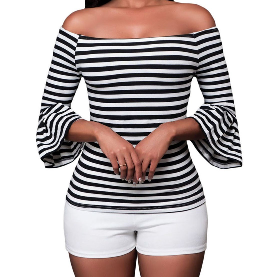 SUBWELL Women's Off Shoulder Flared Sleeve Black and White Stripe T Shirt Top Blouse