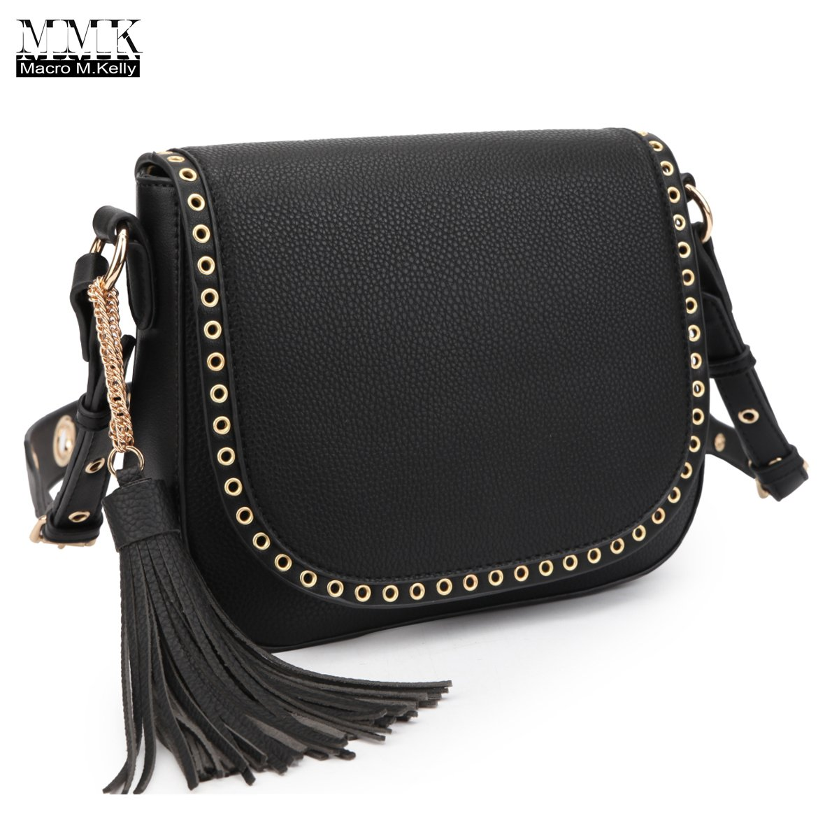 MMK Collection Young Women Small Size PU Leather Metal Whole and Hanging Tassel Decorated (7368) Corssbody Handbag (Black)