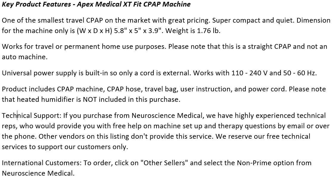 Apex_Medical_XT_FIT_CPAP_Machine
