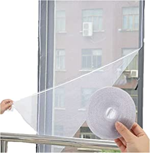 Flyzzz DIY Self-adhesive Window Screen Netting Mesh Curtain, 100X150cm (Approach 39.37x59.05 Inches), With Hook and Sticky Tape, Fitted to Multiple Windows (1 Pack, White)
