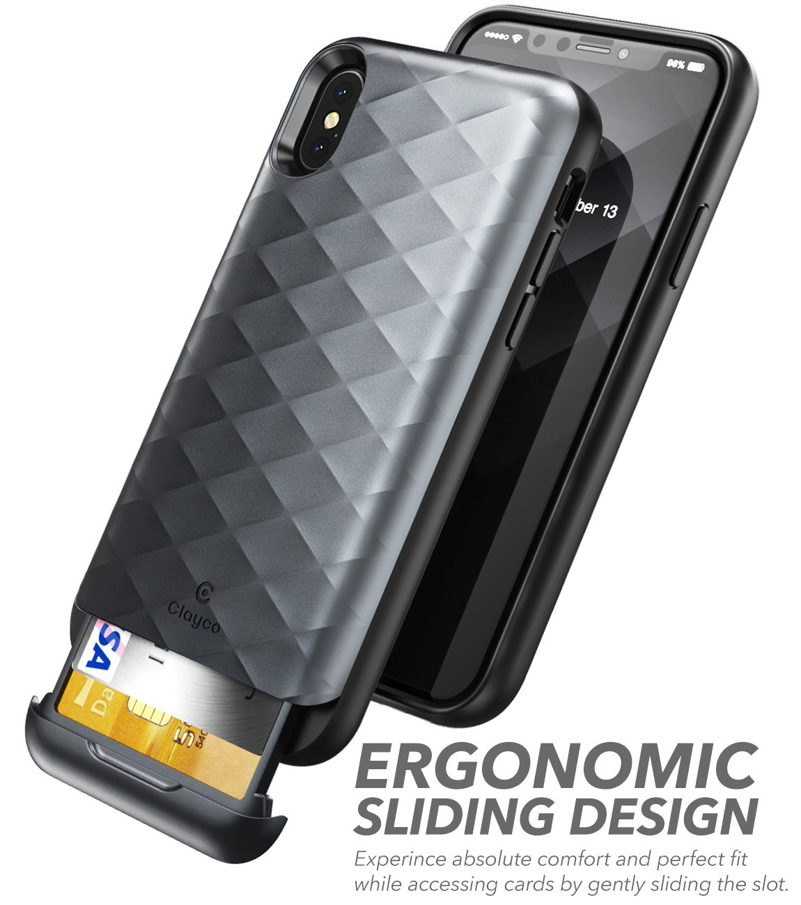 Iphone X Case Clayco Argos Series Premium Hybrid Xr Spigen Anti Shock With Card Slot Slim Armor Cs Casing Black Protective Wallet For Apple 10 Built In Credit Id