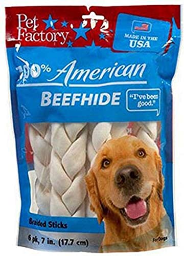 Pet Factory U.S.A. Beef Hide Braided Sticks Chews For Dogs 6 Pack , Medium 6