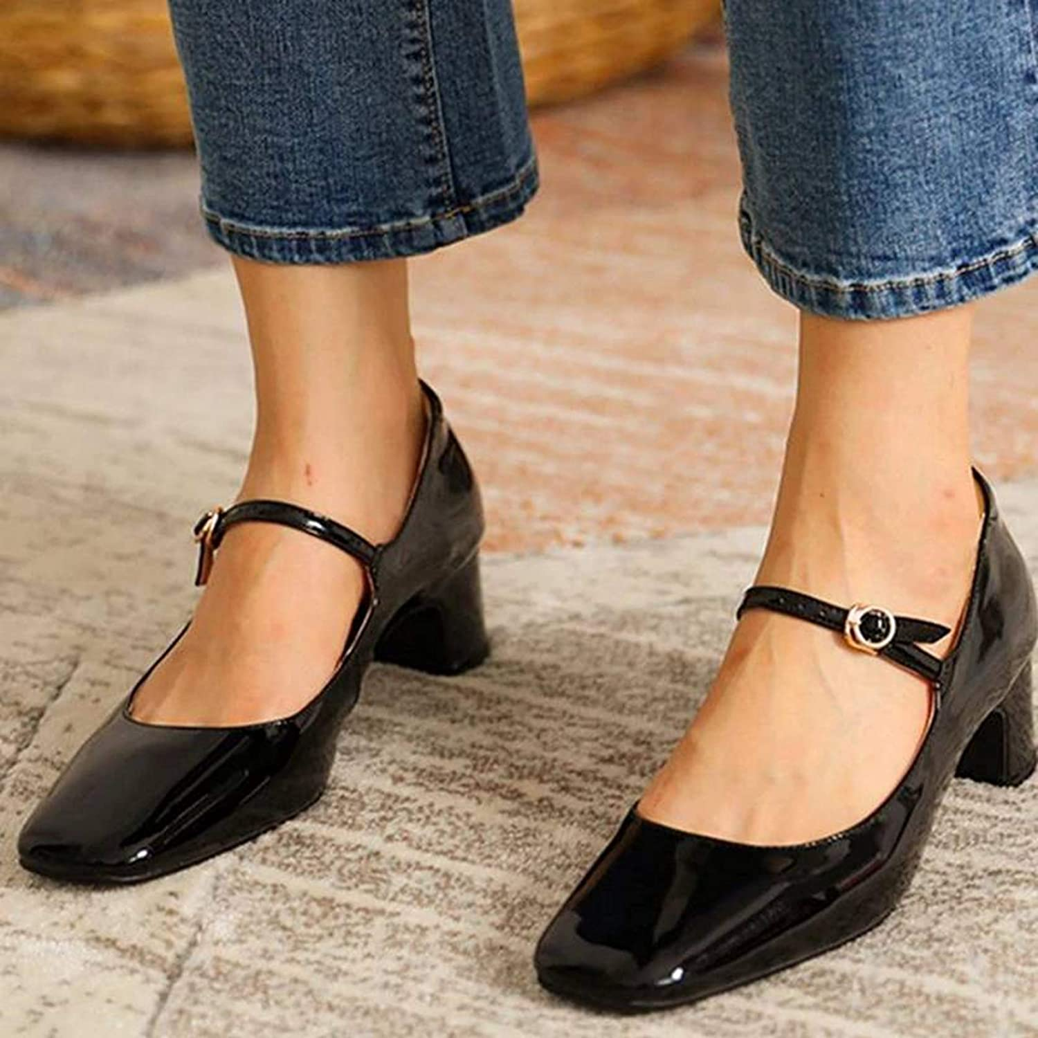 Womens Mary Jane Shoes Fashion Casual Low Heel Shallow Mouth Round Toe Party Shoes Buckle Strap Spring Autumn Pumps