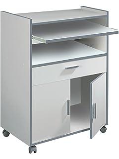 Habitdesign 009910O - Mueble auxiliar mesa cocina con un cajón y dos puertas, color Blanco