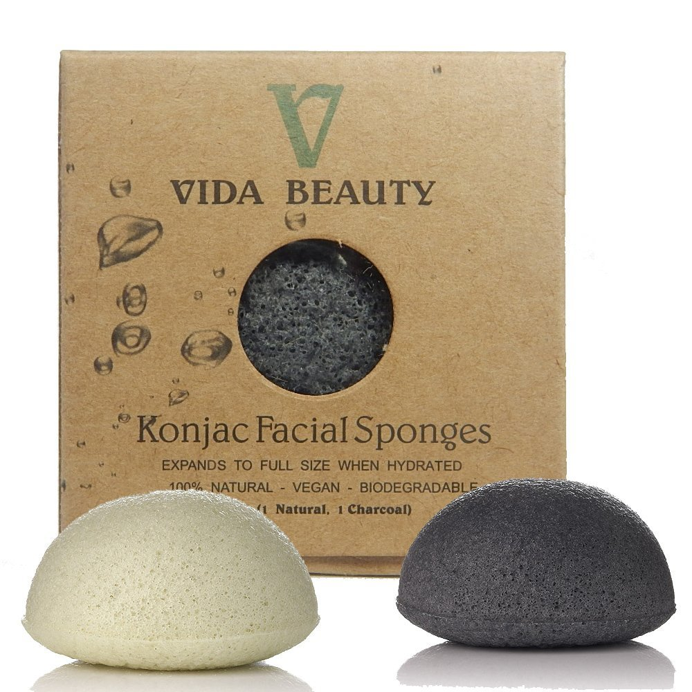Konjac- Sponge-Authentic-Natural-Konjac-Bath-Sponge, 2pk100% Natural Bath Sponge, Exfoliating Bath Sponge, Deep Cleansing, Improved Skin - Facial Sponge, For Acne, Sensitive Skin