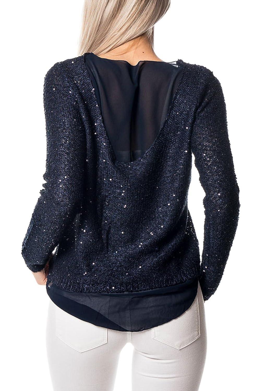 Vero Moda Blusas para Mujer Maglia con velo e paillettes Vmemerald - Blu-S: Amazon.es: Ropa y accesorios