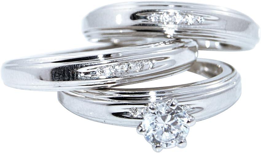 Diamond 14K White Gold Over Trio His /& Her Bridal Wedding Engagement Ring Set