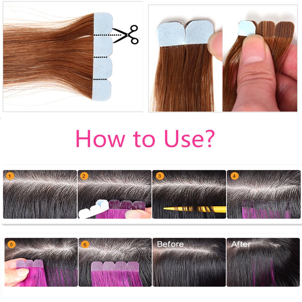 DSOAR 10 Pieces Pink Tape In PU Hair Extension 60cm/24 Inch Skin Weft Human Hair Extension,Can be Restyled by DSOAR (Image #9)