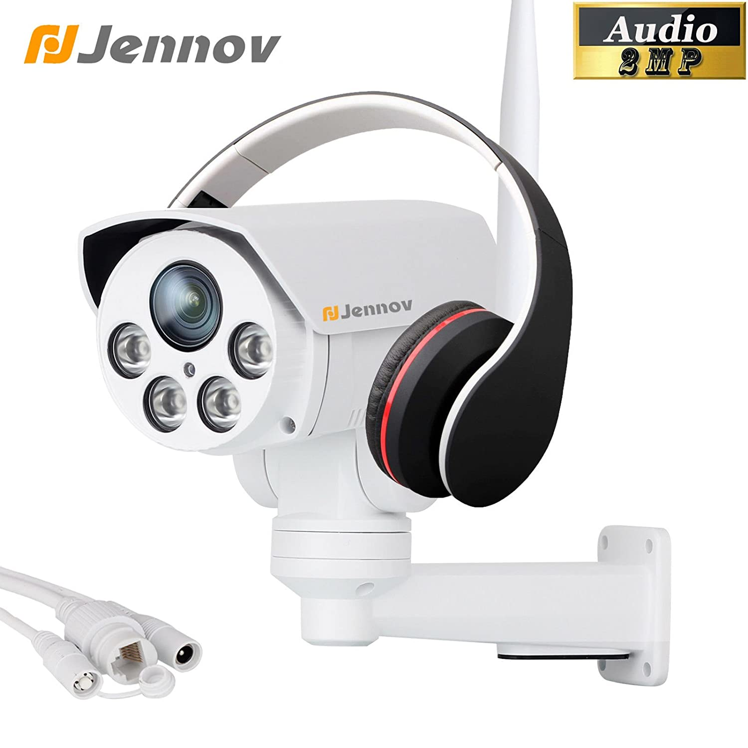 Jennov Wireless Security Camera, 1080P Wireless WiFi PTZ Camera Home Video IP Network Surveillance Pre-installed 16G MicroSD Card With 4X Zoom Lens Audio Outdoor Night Vision