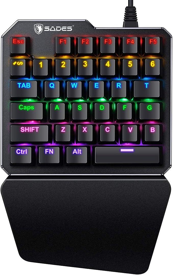Teclado mecánico para Videojuegos RGB con retroiluminación SADES portátil Mini Gaming para PUBG/LOL/Wow/Dota