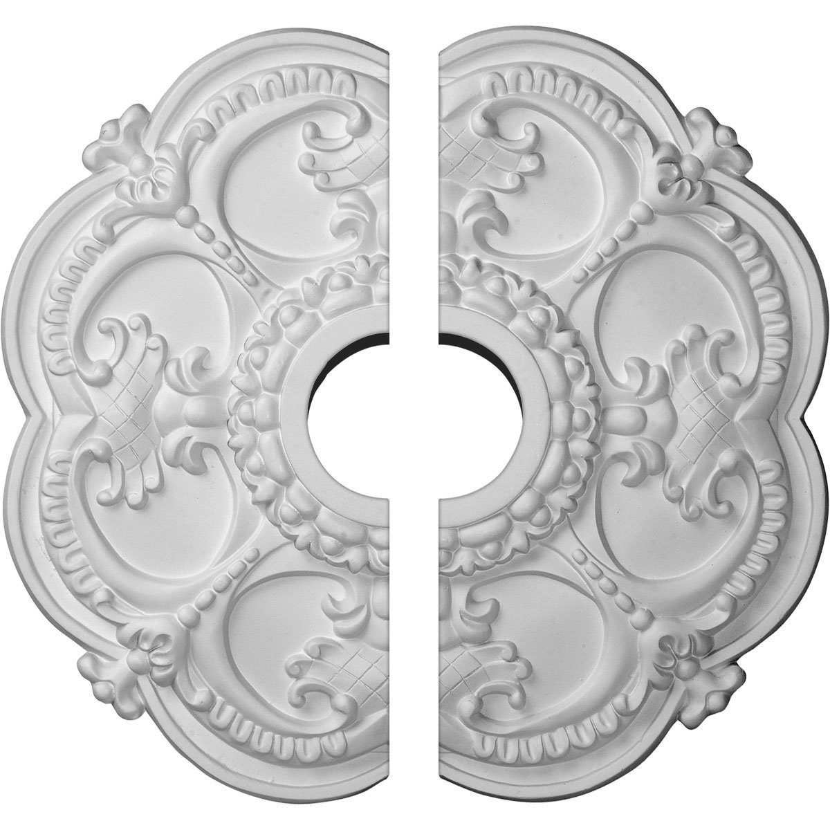 Ekena Millwork CM17RO2 18''OD x 3 1/2''ID x 1 1/2''P Rotherham Ceiling Medallion, Fits Canopies up to 3-1/2'', 2 Piece